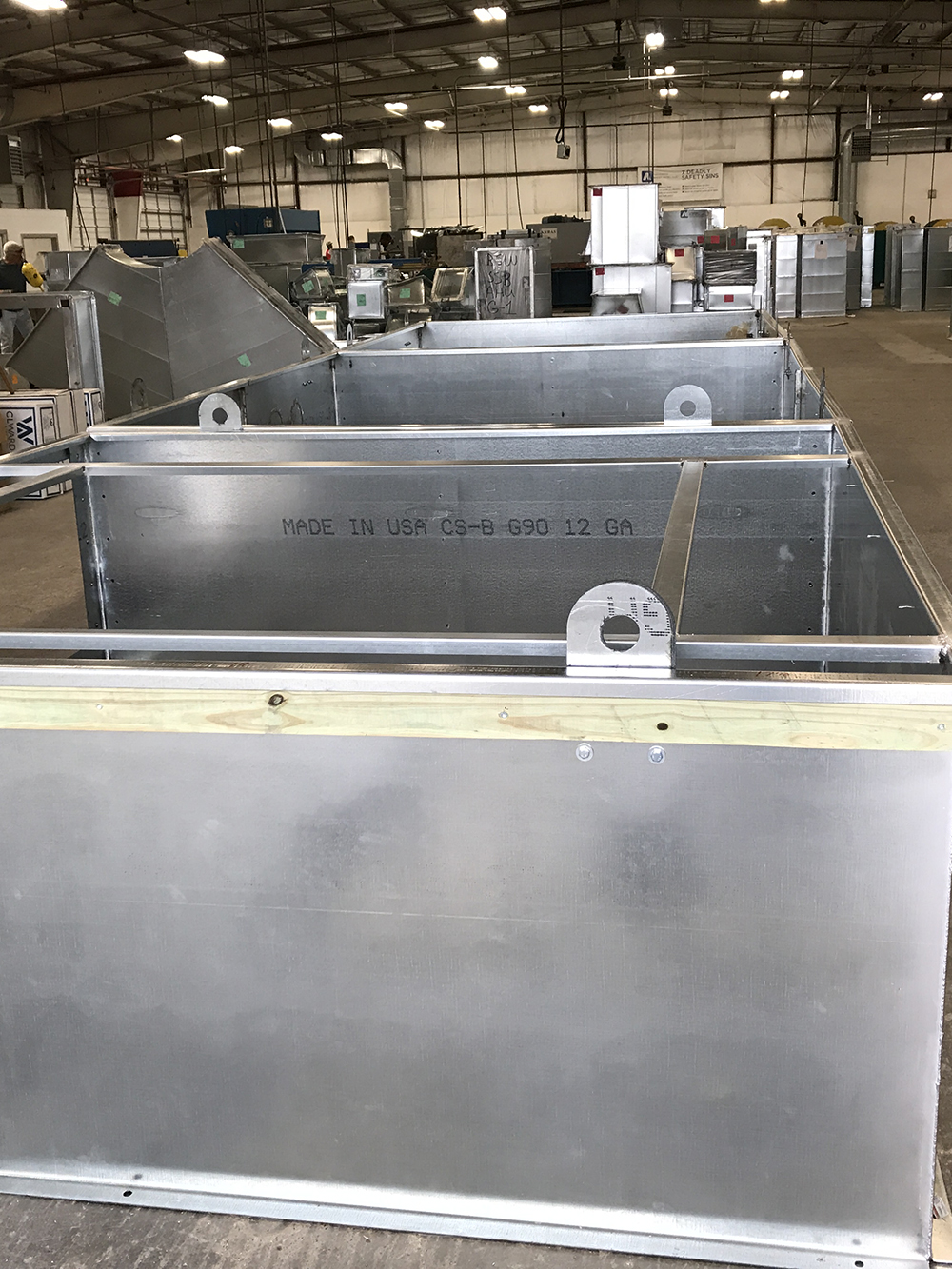 Unfinished hvac sheet metal pieces